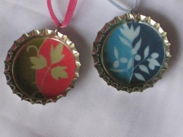 Bottlecap Pendants - Set of 2 - Modern Floral