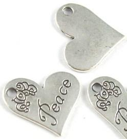 Heart Shaped Peace Charms