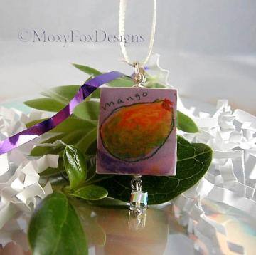 MANGO FANDANGO Scrabble Tile Necklace with Iridescent Sparkle