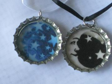 Bottlecap Pendants - Set of 2 - Celestial