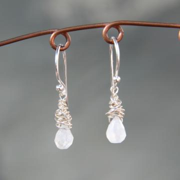 Moonstone Drop and Silver Earrings