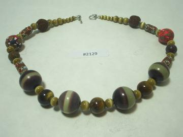 Tiger Eye and Petrified Wood NECKLACE Metaphysical Balances material and physical