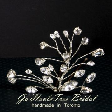 Swarovski Crystal and Sterling Silver Bridal Wedding Hair Pin
