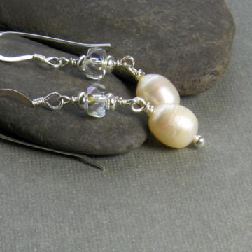 Freshwater Pearl and Austrian Crystal Handmade Dangle Earrings