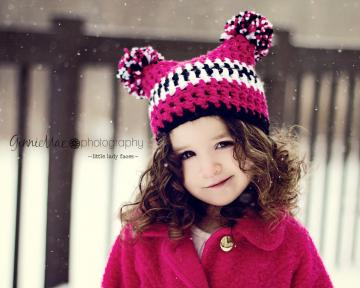 Toddler Pom-Pom jester sack hat beanie in shocking pink, black and white (or any colors)