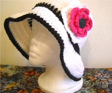 Crocheted Floppy Hat in Black and White with Pink and White Flower and Black Button in the Center (Made to Order)