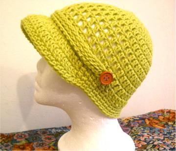 Girls Lime Green Crocheted Newsboy Cap 