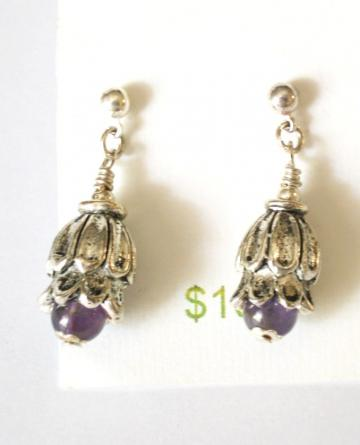 Amethyst antiqued silver floral earrings