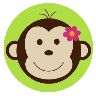 Mod Monkey Green Edible Image Cupcake Toppers