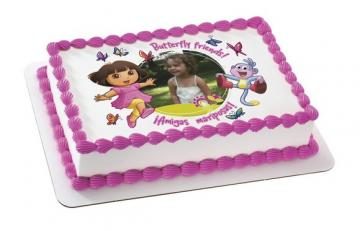 Dora the Explorer Edible Image Cake Topper by DecoPac with PHOTO - ROUND OR RECTANGLE
