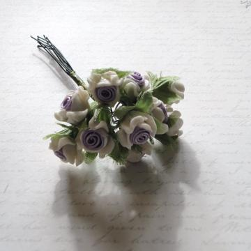 Purple Ribbon & White Porcelain Flowers