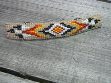 Native Style Hand Beaded Creamy Tan Barrette