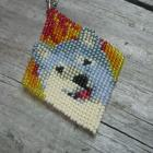 Hand Beaded Brick Stitch Smiling Wolf &amp; Fire Necklace