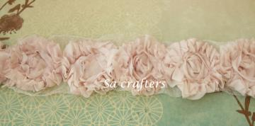 Dusty Rose Rosette  trim-18 flowers