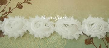 White Shabby Chic flowers trim,14 flowers