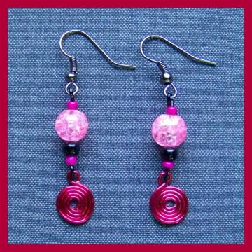 Pink Crackle and Black Earrings