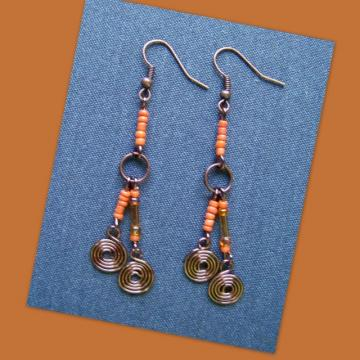 Copper Citrus Spiral Earrings