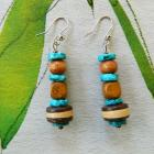 Shell  and  wood  dangle  earrings
