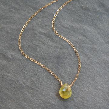 Green Garnet & Gold Simplicity Necklace