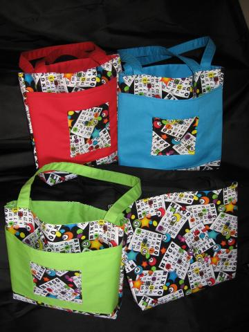 Bingo Bag/Purse/Lunch Bag Red with Velcro Closure