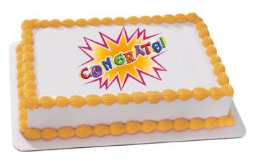 Congrats Edible Image Cake Topper by DecoPac - ROUND OR RECTANGLE
