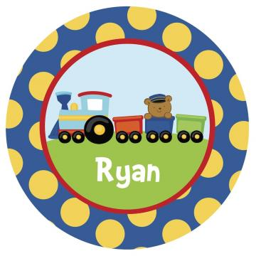 Train Personalized Kid-Safe Melamine Plate