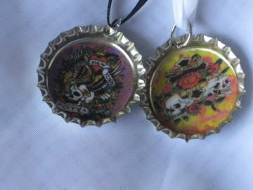 Bottlecap Pendants - Set of 2 -  Tattoo Designs