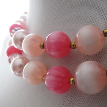 Vintage double strand Pink Baubles Necklace