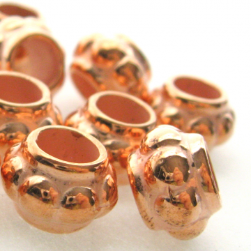 10 Vintage Lucite Copper Coated Wide Mouth Spacers