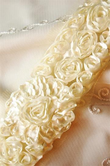 IVORY Satin Shabby Chic Inset Cabbage Rosette Trim 