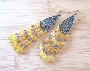 Gypsy Treasures Bronzed Charm Beaded Earrings