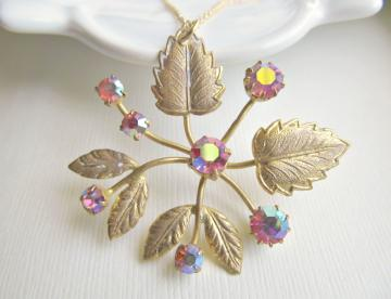 Vintage Brass Flower Necklace  - Altered Vintage Brooch with Pink Crystals