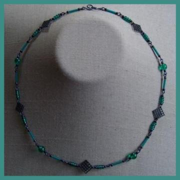 Blue Teal Grids Necklace