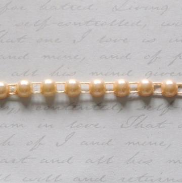6mm Champaign Flat Back Pearl Trim 2 yards