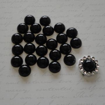 10mm Flat Back Pearls - Black