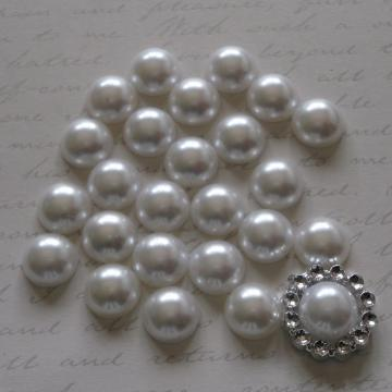 10mm Flat Back Pearls - White
