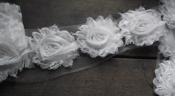 Chiffon Rose Trim, white