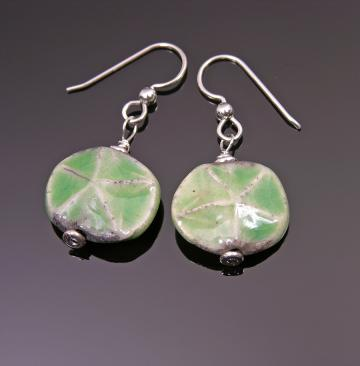 Green Raku Starfish earrings
