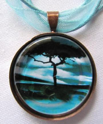 Pendant Necklace - Charcoal Black Tree - Turqoise Horizon - Glass Tile