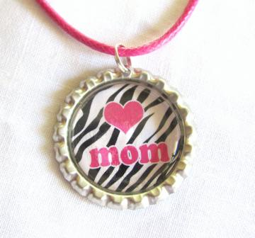 Love Mom Pendant - Pink Heart - Zebra Pattern - Bottlecap