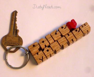 Love Heart Keychain - Red Oak Wood Names