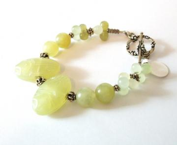 Jade scarab and sterling silver bracelet
