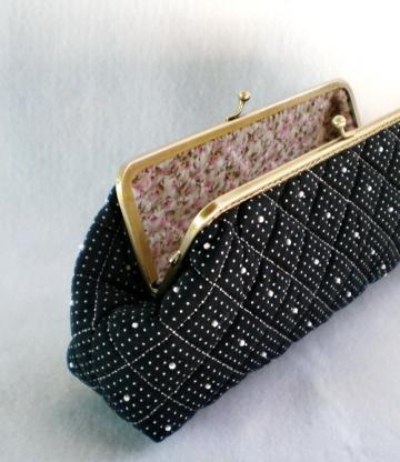 8 Inches - Black Beautiful Quilted & Beads Purse