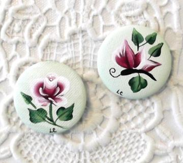 Two Magnets, Original Handpainted Rose Bud and Butterfly