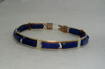Sterling, Bronze and Lapis Bangle-Item # 0079