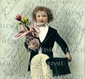DIGITAL scan Tuxedo boy with Top Hat  FRENCH Script antique 1904 postcard VALENTINE idea