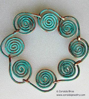 Spiral Waves with Patina Bracelet