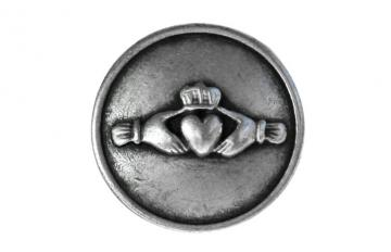 2 Claddagh Metal Shank Buttons 7/8 inch ( 22 mm ) Color: Silver