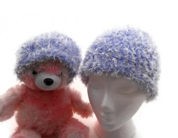 Ice Blue - White - Feather - Chenille - Beanie Hat - Set - Baby and Adult - Pair - Matching