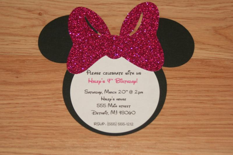 Handmade Minnie Mouse Invitations with Envelopes Set of 40